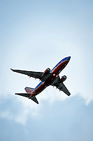 Southwest airlines jet in flight.