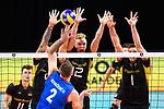 13.09.2019, Paleis 12, BrŸssel / Bruessel<br />Volleyball, Europameisterschaft, Deutschland (GER) vs. Serbien (SRB)<br /><br />Block  / Dreierblock Georg Grozer (#9 GER), Anton Brehme (#12 GER), Christian Fromm (#1 GER) - Angriff Uros Kovacevic (#2 SRB)<br /><br />  Foto © nordphoto / Kurth