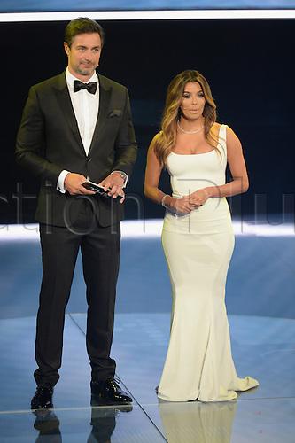 09.01.2017. Zurich, Switzerland.  Presenters Marcus Schreyl and Eva Longoria (r) pictured at the FIFA World Players of the Year 2016 gala in Zurich, Switzerland, 9 January 2017.