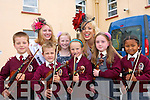 Pupils from the Moyderwell Mercy Primary School 'Colour My Strings Foundation and After-School Programme' pictured with the Newfoundland & Labrador Rose Erica Halfyard and New Orleans Rose Molly Molloy Gambel during the Roses visit to the Bon Secours Hospital on Friday. Pictured from left: Adrian Paluszpzak, William Sheeran, Kayla O'Connor-McCarthy (Rose Bud), Aoibhinn O'Connor-McCarthy, Lauren Doody and Sophia Abgrhman .