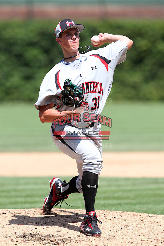 Porter Clayton (31) during the 2010 Under Armour All-American Game powered by Baseball Factory at Wrigley Field in Chicago, New York;  August 14, 2010.  Photo By Mike Janes/Four Seam Images