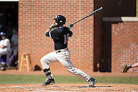 Mark Hernandez (16) of the LIU-Brooklyn Blackbirds follows through on his swing against the High Point Panthers at Willard Stadium on March 8, 2015 in High Point, North Carolina.  The Panthers defeated the Blackbirds 9-0.  (Brian Westerholt/Four Seam Images)