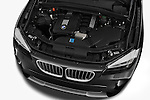 High angle engine detail of a 2012 Bmw X1 xDrive20d 5 Door Suv 2WD