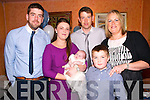 Baby John O'Mahony with his parents Susanna Hennessy & Mike O'Mahony and god parents Sean O'Mahony & Caroline Hennessy and brother Michael Hennessy who was christened in St. Mary's Church, Listowel by Canon Declan O'Connor on Saturday last and afterwards at McCarthy's Bar, Finuge.