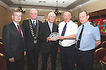 Des Foley, Town Clerk, Mayor Frank Maher, Cllr Jimmy Mulroy, Joint Policing Committee, Superintendent Gerry Smith and Sgt. Donal McGivern, Community Guard  at the official Launch of the Boyne Cable Project in the Westcourt Hotel...Photo NEWSFILE/Jenny Matthews.(Photo credit should read Jenny Matthews/NEWSFILE)....This Picture has been sent you under the condtions enclosed by:.Newsfile Ltd..The Studio,.Millmount Abbey,.Drogheda,.Co Meath..Ireland..Tel: +353(0)41-9871240.Fax: +353(0)41-9871260.GSM: +353(0)86-2500958.email: pictures@newsfile.ie.www.newsfile.ie.FTP: 193.120.102.198.