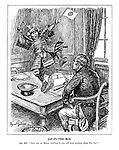 """Jap-in-the-Box. John Bull. """"How can we discuss anything if you  will keep jumping around like that?"""" (a violent Japanese Samurai jumps on John Bull's desk while he reads the headline Tientsin Dispute)"""