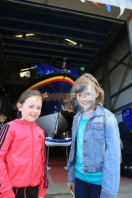 Aoife finnegan and Niamh Cody.at the open day in Clogherhead lifeboat station..Picture: Fran Caffrey / www.newsfile.ie ..