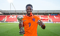 Daishawn Redan (Chelsea) of Holland U17 celebrates winning the U17 2018 Championship during the UEFA Under-17 Championship FINAL match between Italy and Netherlands at the New York Stadium, Rotherham, England on 20 May 2018. Photo by Andy Rowland.