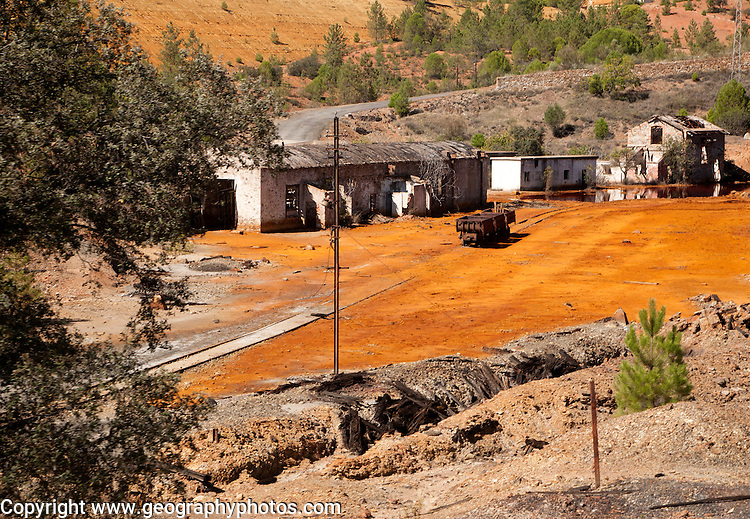 Old work buildings opencast mineral extraction Minas de Riotinto mining area, Huelva province, Spain