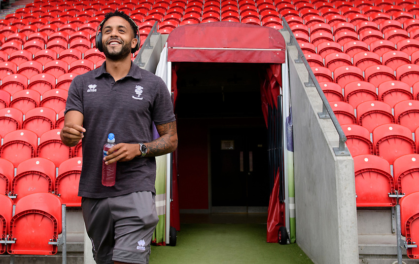 Lincoln City's Bruno Andrade arrives at the ground prior to the game<br /> <br /> Photographer Chris Vaughan/CameraSport<br /> <br /> EFL Leasing.com Trophy - Northern Section - Group H - Doncaster Rovers v Lincoln City - Tuesday 3rd September 2019 - Keepmoat Stadium - Doncaster<br />  <br /> World Copyright © 2018 CameraSport. All rights reserved. 43 Linden Ave. Countesthorpe. Leicester. England. LE8 5PG - Tel: +44 (0) 116 277 4147 - admin@camerasport.com - www.camerasport.com