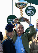 14h April 2018, Aintree Racecourse, Liverpool, England; The 2018 Grand National horse racing festival sponsored by Randox Health, day 3; Owner Michael O'Leary and his wife Anita celebrate winning the Grand National with their horse Tiger Roll