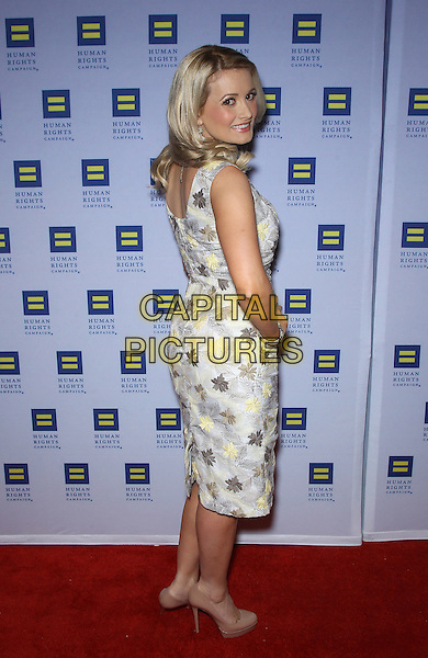 Holly Madison.Las Vegas Celebrities celebrate equal love at the 8th Annual Human Rights Campaign Dinner Gala at Aria Las Vegas, Las Vegas, Nevada, USA, 18th May 2013..full length hand on hip sleeveless grey gray yellow print patterned back rear behind over shoulder .CAP/ADM/MJT.© MJT/AdMedia/Capital Pictures