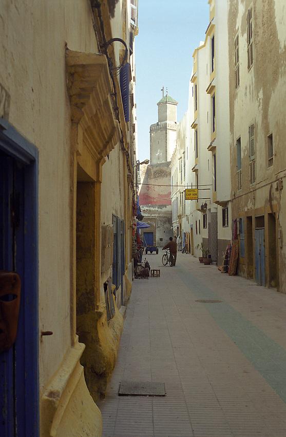 A view along a narrow street within the Medina Walls of Essouira, Morocco