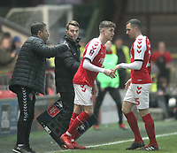 Fleetwood Town's Ryan Rydel replaces Harrison Biggins<br /> <br /> Photographer Mick Walker/CameraSport<br /> <br /> Emirates FA Cup Third Round - Fleetwood Town v AFC Wimbledon - Saturday 5th January 2019 - Highbury Stadium - Fleetwood<br />  <br /> World Copyright © 2019 CameraSport. All rights reserved. 43 Linden Ave. Countesthorpe. Leicester. England. LE8 5PG - Tel: +44 (0) 116 277 4147 - admin@camerasport.com - www.camerasport.com