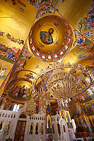 The Byzantine style frescos of the new Orthodox church of Omala. Kefalonia, Ionian Islands, Greece.