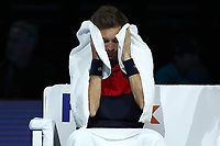 17th November 2019; 02 Arena. London, England; Nitto ATP Tennis Finals; A dejected Nicolas Mahut (FRA) covers himself in his towel between games in mens doubles final - Editorial Use