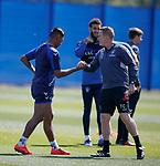 17.05.2019 Rangers training: Alfredo Morelos and Tom Culshaw