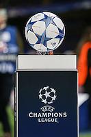 The UEFA Champions League Match Ball ahead of the UEFA Champions League match between Chelsea and Maccabi Tel Aviv at Stamford Bridge, London, England on 16 September 2015. Photo by David Horn.