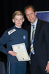 St Johnstone FC Youth Academy Presentation Night at Perth Concert Hall..21.04.14<br /> Alec Cleland presents to Gregor Donald<br /> Picture by Graeme Hart.<br /> Copyright Perthshire Picture Agency<br /> Tel: 01738 623350  Mobile: 07990 594431