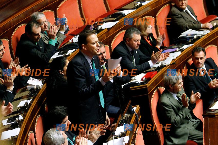 LEGA NORD - FEDERICO BRICOLO.Roma 22/12/2011 Senato. Voto di Fiducia sulla Manovra Economica.Votation at Senate about austerity plan. .Photo Samantha Zucchi Insidefoto