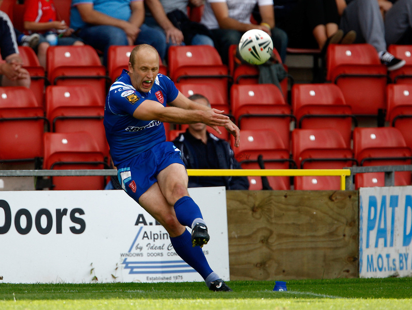 Photo: Richard Lane/Richard Lane Photography. Crusaders v Hull KR. Engage Super League. 09/07/2011. KR's Michael Dobson kicks.