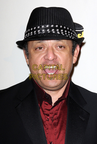 PAUL RODRIGUEZ.The Conga Room Grand Opening Celebration at Nokia LA Live, Los Angeles, California, USA..December 10th, 2008.headshot portrait black hat pinstripe fedora trilby soul patch facial hair mouth open.CAP/ADM/KB.©Kevan Brooks/AdMedia/Capital Pictures.