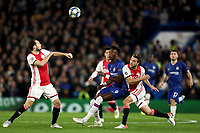 5th November 2019; Stamford Bridge, London, England; UEFA Champions League Football, Chelsea Football Club versus Ajax; Joël Veltman of Ajax competes for the ball with Tammy Abraham of Chelsea - Editorial Use