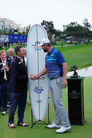 Marc Leishman (AUS) with an official at prize giving after the final round of the Farmers Insurance Open, Torrey Pines, La Jolla, San Diego, USA. 25/01/2020<br /> Picture: Golffile | Phil INGLIS<br /> <br /> <br /> All photo usage must carry mandatory copyright credit (© Golffile | Phil Inglis)