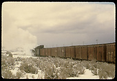 #498 K-37 hauling box cars possibly going out of Chama.<br /> D&amp;RGW  Chama area ?, NM