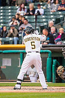Daniel Robertson (5) of the Salt Lake Bees at bat against the Sacramento River Cats in Pacific Coast League action at Smith's Ballpark on April 17, 2015 in Salt Lake City, Utah.  (Stephen Smith/Four Seam Images)