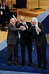 Peter Higgs (L), François Englert and Rolf Heuer (R) receive the Prince of Asturias Award for Technical & Scientific Research during the 2013 Prince of Asturias Awards ceremony at the Campoamor Theater in Oviedo, Spain. October 25, 2013..(ALTERPHOTOS/Victor Blanco)