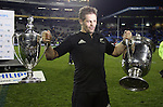 Richie McCaw holds the Philips Tri Nations Cup (L) and Bledisloe Cup following the All Blacks v Australia Test match. Eden Park, Auckland, New Zealand. Saturday 21 July 2007.