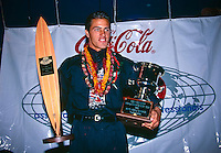 Kelly Slater (USA) won his third World Professional Surfing Title in 1995. He was also 1995 Chemsee Pipeline Masters Champion and was the 1995 Hawaiian Triple Crown Champion. Lisa Andersen (USA) was the Women's World Professional Surfing Champion. Photo: joliphotos.com
