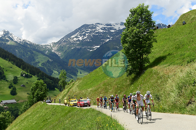 The 25 man breakaway group in action during Stage 6 of the 2018 Criterium du Dauphine 2018 running 110km from Frontenex to La Rosiere, France. 9th June 2018.<br /> Picture: ASO/Alex Broadway | Cyclefile<br /> <br /> <br /> All photos usage must carry mandatory copyright credit (© Cyclefile | ASO/Alex Broadway)