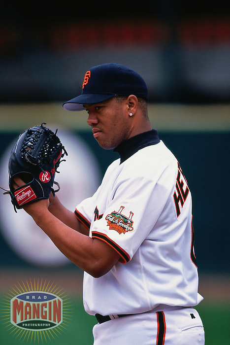 SAN FRANCISCO, CA - Livan Hernandez of the San Francisco Giants pitches during a game at Candlestick Park in San Francisco, California in 1999. Photo by Brad Mangin
