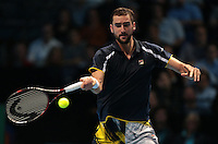 Marin Cilic (CRO) (7) action against  Andy Murray  (GBR)(1) in their John McEnroe  Group  match during Day Two of the Barclays ATP World Tour Finals 2015 played at The O2 Arena, London on November 14th  2016