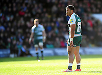 Manu Tuilagi of Leicester Tigers looks on during a break in play. Aviva Premiership match, between Northampton Saints and Leicester Tigers on April 16, 2016 at Franklin's Gardens in Northampton, England. Photo by: Patrick Khachfe / JMP