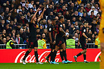 Luuk de Jong of Sevilla FC celebrates goal during La Liga match between Real Madrid and Sevilla FC at Santiago Bernabeu Stadium in Madrid, Spain. January 18, 2020. (ALTERPHOTOS/A. Perez Meca)