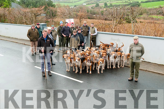 Harriers Hunt: John Swain on left and Huntsman Derek McMahon on right with hounds at the Harriers Hunt Club Outing at Mountcollins on Tuesday ready to go.