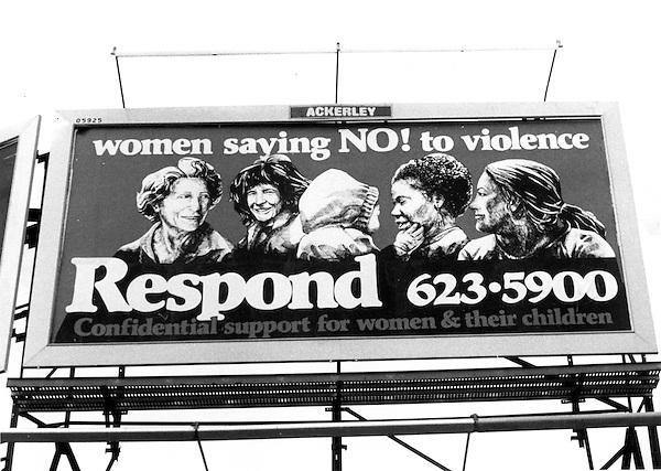 Billboard promoting Battered Women's shelter in Somerville, MA