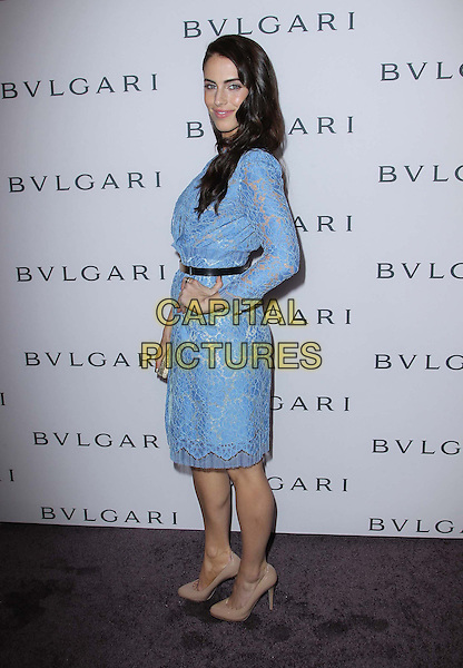 Jessica Lowndes.BVLGARI celebrates Elizabeth Taylor's magnificent collection of BVLGARI jewelry held at the BVLGARI store, Beverly Hills, California, USA..February 19th, 2013.full length dress silver belt  blue lace  beige shoes gold side hand on hip.CAP/ADM/FS.©Faye Sadou/AdMedia/Capital Pictures.