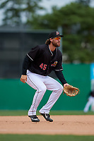 Batavia Muckdogs third baseman Julian Infante (45) during a NY-Penn League game against the Williamsport Crosscutters on August 27, 2019 at Dwyer Stadium in Batavia, New York.  Williamsport defeated Batavia 11-4.  (Mike Janes/Four Seam Images)