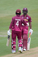Shai Hope (West Indies) congratulates Evin Lewis (West Indies) on his half century during West Indies vs New Zealand, ICC World Cup Warm-Up Match Cricket at the Bristol County Ground on 28th May 2019