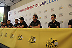 Orica-Scott team press conference before the 104th edition of the Tour de France 2017, Dusseldorf, Germany. 29th June 2017.<br /> Picture: Eoin Clarke | Cyclefile<br /> <br /> <br /> All photos usage must carry mandatory copyright credit (&copy; Cyclefile | Eoin Clarke)
