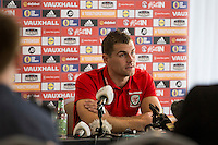 Sam Vokes faces the press during the Wales player media session ahead of the opening World Cup 2018 qualification match against Moldova at Hensol Castle, Vale of Glamorgan, Wales on 1 September 2016. Photo by Mark  Hawkins.