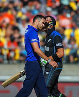 James Anderson walks back after a delivery is hit for four during the ICC Cricket World Cup one day pool match between the New Zealand Black Caps and England at Wellington Regional Stadium, Wellington, New Zealand on Friday, 20 February 2015. Photo: Dave Lintott / lintottphoto.co.nz