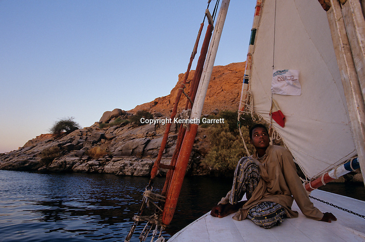 Egypt of the Pharaohs, Aswan, Sailing a felucca on the Nile River