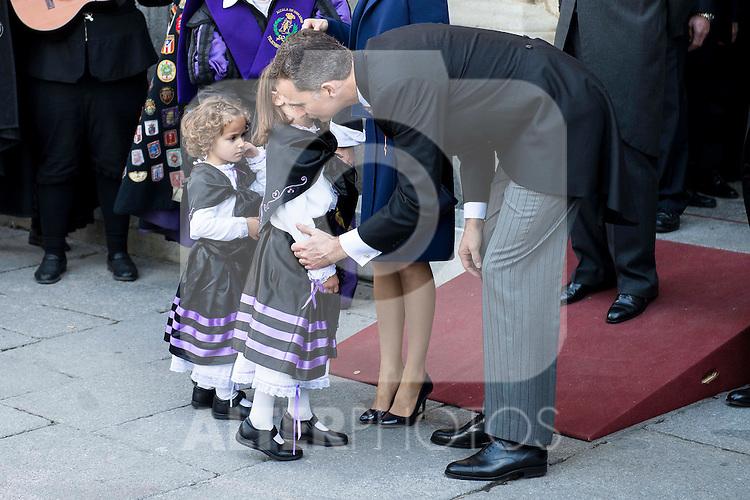 """King Felipe VI of Spain and Queen Letizia during award ceremony of literature in Spanish """"Miguel de Cervantes"""" to Mr. Fernando del Paso Morante at University of Alcala de Henares in Madrid.  April 23, 2016. (ALTERPHOTOS/BorjaB.Hojas)"""