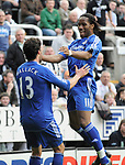 Chelsea's Michael Ballack celebrates his goal with Didier Drogba. during the Premier League match at the St James' Park Stadium, Newcastle. Picture date 5th May 2008. Picture credit should read: Richard Lee/Sportimage