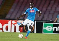 Napoli's Kalidou Koulibaly controls the ball during the Europa  League Group D soccer match against Brugge  at the San Paolo  Stadium in Naples September 17, 2015
